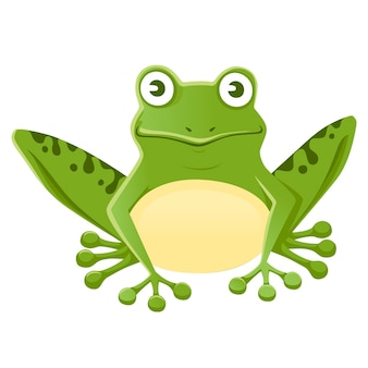 Grenouille verte souriante mignonne assise sur le sol dessin animé animal design plat illustration vectorielle