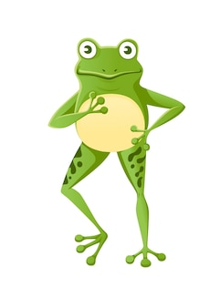 Grenouille verte souriante mignonne debout sur deux jambes dessin animé animal design plat vector illustration isolé sur fond blanc.