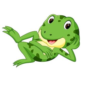 Grenouille verte avec un sourire heureux