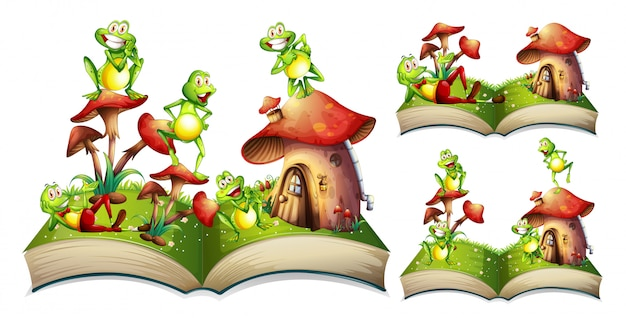 Grenouilles heureux sur le livre de contes