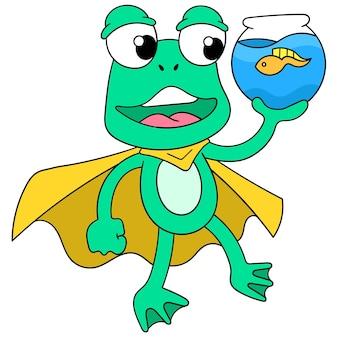 Les grenouilles vertes prennent joyeusement soin d'un têtard pour animaux de compagnie dans l'aquarium, art d'illustration vectorielle. doodle icône image kawaii.