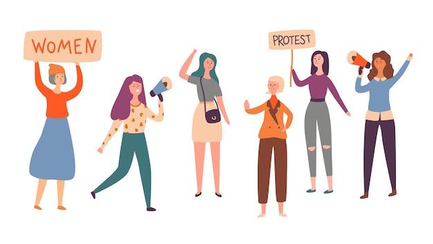 Grève de protestation de groupe de caractères féminisme féminin