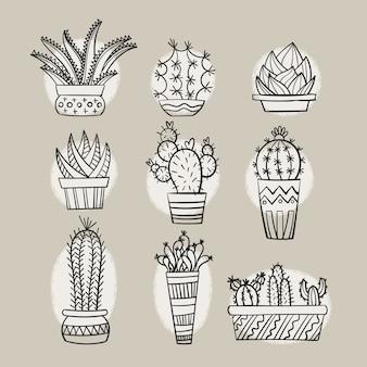 Gribouillis de cactus dessinés à la main