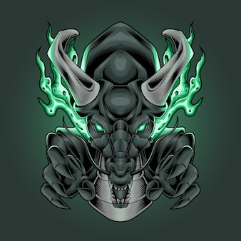 Griffe de dragon avec corne de feu