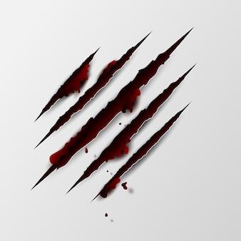 Griffes griffées de sang rouge