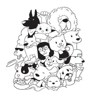 Griffonnage de chiens mignons