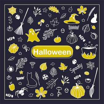 Griffonnage d'halloween. ensemble de dessins animés de croquis d'éléments festifs. silhouettes d'halloween