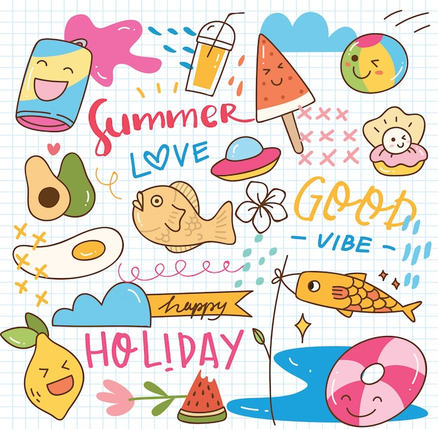Griffonnage kawaii d'été