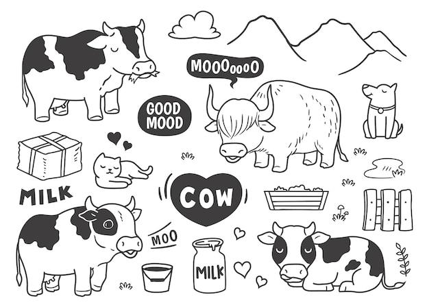 Griffonnage vache à la ferme