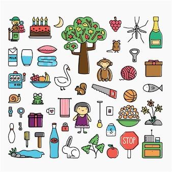 Griffonnage, vecteur, illustration, dessin animé, clipart