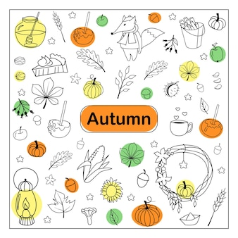 Griffonnages d'automne. ensemble de croquis dessinés à la main. objets isolés sur fond blanc. illustration vectorielle