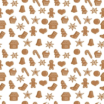 Griffonnages de dessin de main de modèle sans couture de biscuits de noël