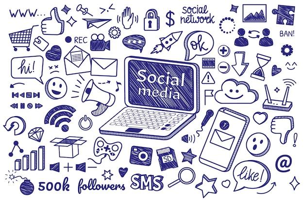 Griffonnages dessinés à la main sur les médias sociaux signes et symboles internet ensemble de communication en ligne pour les blogs