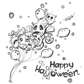 Griffonnages d'halloween mignons dessinés à la main - fantôme avec les boules