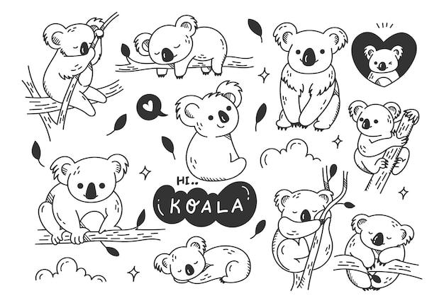 Griffonnages de koala mignon dessinés à la main