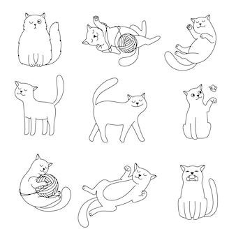 Griffonnages de ligne de chats. croquis de chat de contour mignon de dessin animé, lignes de minimalisme jouant des images de chatons domestiques isolées