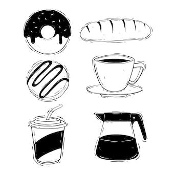 Griffonner l'heure du café avec la collection de cookies
