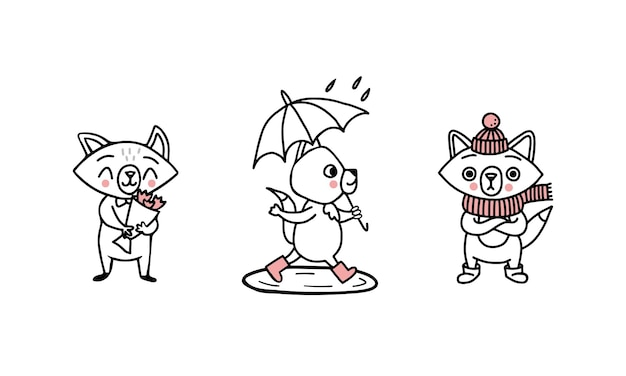 Griffonnez des personnages de renards à différentes périodes de l'année : avec des fleurs au printemps et en été, des bottes en caoutchouc sous un parapluie la pluie dans les flaques d'eau et, dans une écharpe, un chapeau et des bottes ugg en hiver