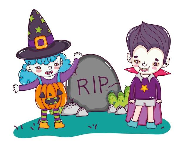 Gril et garçon avec costume d'halloween et rip stone