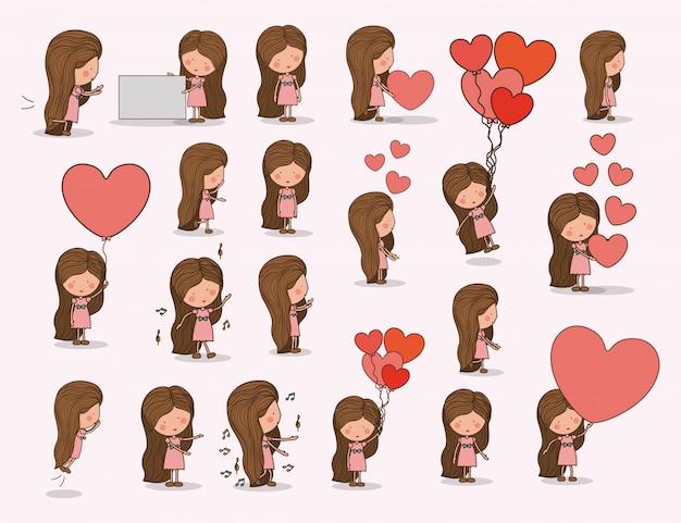 Gril mignon avec des coeurs amoureux
