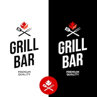 Grill bar moderne étiquette bannière idée de conception graphique