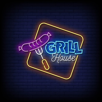 Grill house neon signs style text vector