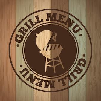 Grill menu sur illustration vectorielle de fond en bois