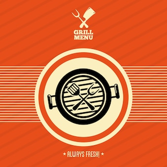 Grill menu sur illustration vectorielle fond orange
