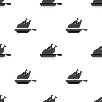 Grill de poulet, modèle sans couture de vecteur, modifiable peut être utilisé pour les arrière-plans de pages web, les remplissages de motifs