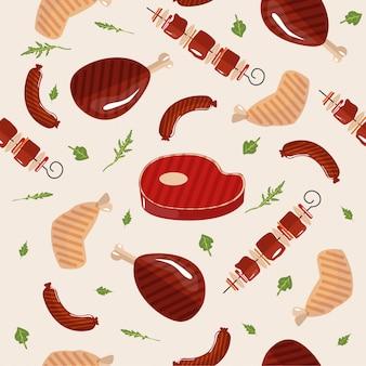 Grill seamless pattern de viande de barbecue