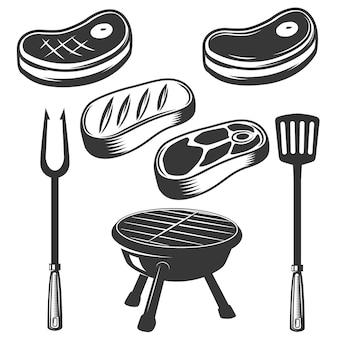 Grill, viande crue, viande grillée, feu. éléments de menu, étiquette, emblème, signe, marque, affiche. illustration