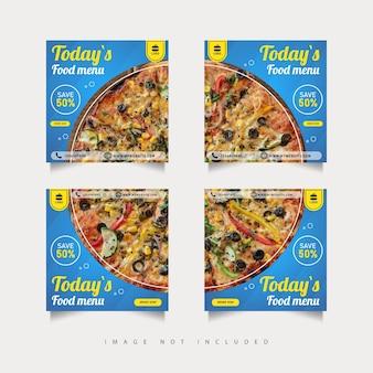 Grille de cadre de puzzle de modèle de bannières de publication de médias sociaux de pizza de nourriture