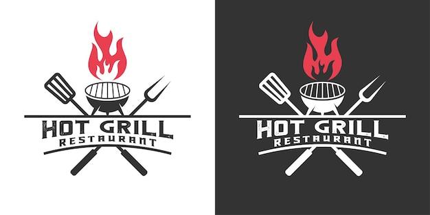 Grillé chaud, rustique, barbecue, restaurant avec modèle de logo de flamme