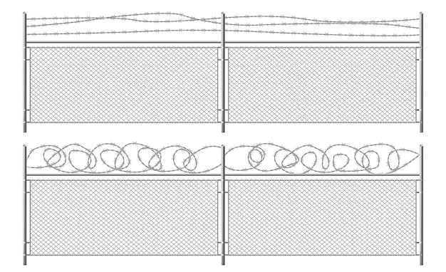Grille de clôture avec du fil de fer barbelé