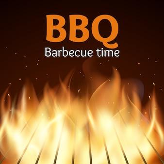 Grille avec feu. affiche de barbecue. flamme pour barbecue, cuisson grillée, illustration vectorielle