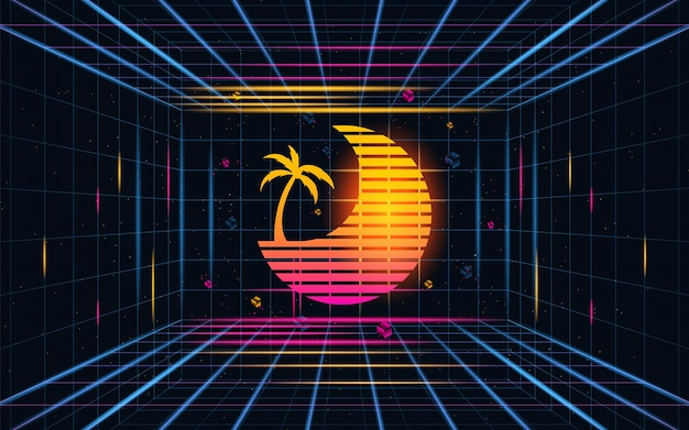 Grille futuriste coucher de soleil avec des résumés de noix de coco fond de concept futur thème