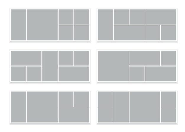 Grille de mosaïque de collage rectangle d'images isolé sur blanc