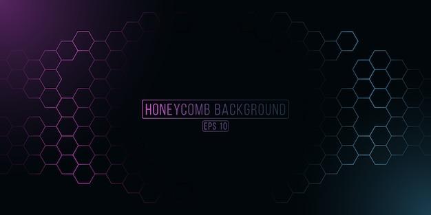 Grille en nid d'abeille hexagonale rougeoyante futuriste. fond de cyber violet et bleu