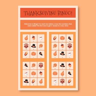 Grille orange feuille de travail de bingo pour thanksgiving