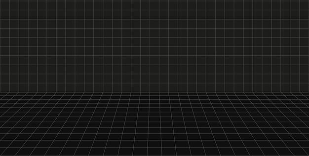 Grille perspective chambre noire. sol et mur. fond gris filaire. modèle de technologie de cyber-boîte numérique. modèle architectural abstrait de vecteur