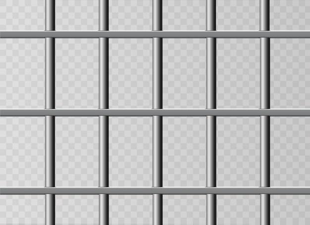 Grilles de prison métalliques réalistes. isolé sur un fond transparent.
