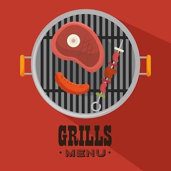 Grills menu boeuf bière design isolé