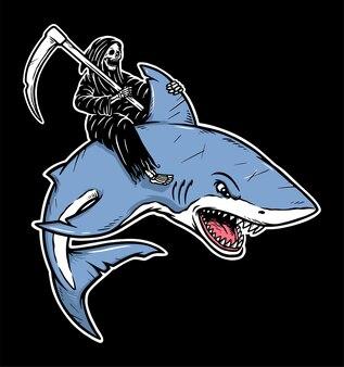 Grim reaper chevauche une illustration de requin