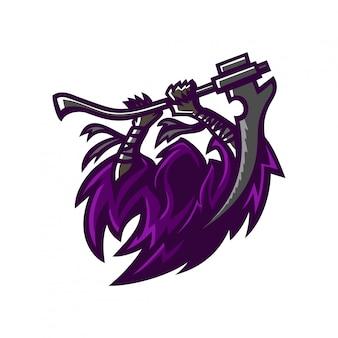 Grim reaper esport gaming modèle de logo de mascotte