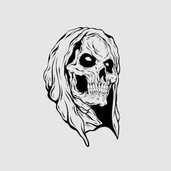 Grim reaper head illustration