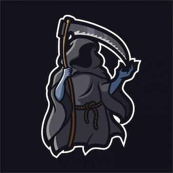 Grim reaper holding faux modèle de logo de mascotte gaming esport