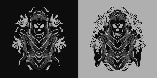 Grim reaper avec illustration à quatre mains