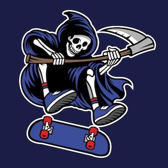 Grim reaper jouant à la planche à roulettes