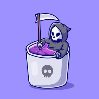 Grim reaper mignon en illustration de dessin animé de tasse.
