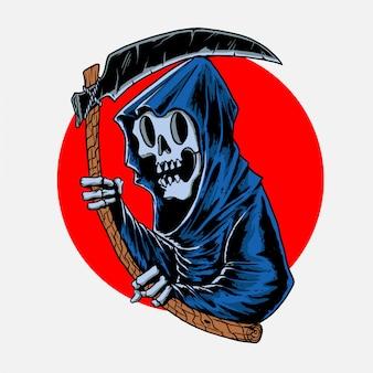 Le grim reaper tenait la faucille dans sa main dessinée à la main